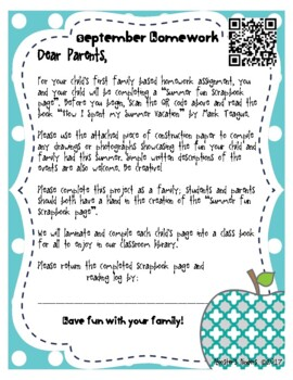 Monthly Family Involvement Homework Projects & Reading Logs