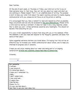 Family Journal/Blog Parent Letter