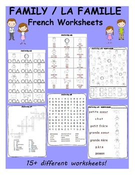 Family La Famille French Worksheets By Vari Lingual Tpt