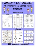 Family / La famille FRENCH Worksheets and Games Pack