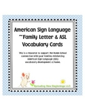 American Sign Language (ASL) ~Family Letter & ASL Vocabulary Cards