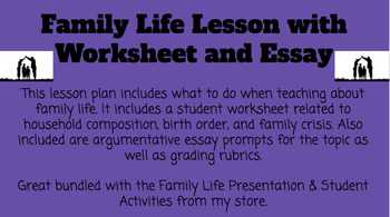Family Life Lesson/Worksheet/Essay
