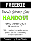 Family Literacy Day Handout {FREEBIE!!}