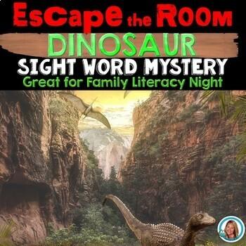 Family Literacy Night Activities - Escape Room DINOSAUR THEMED EDITABLE