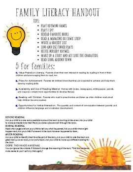 Family Literacy Skills/Tips