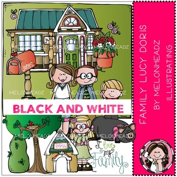 Melonheadz: Family clip art - Lucy Doris - BLACK AND WHITE