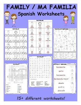 Family / Mi familia SPANISH Worksheets and Games Pack