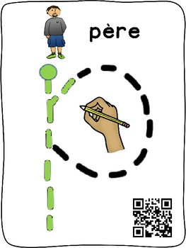 Family / Ma famille - Letter Tracing initial sounds interactive mats (French)