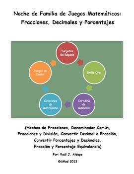 Noche de Familia de Juegos Matematicos (Fracciones, Decimales, y Porcentajes)