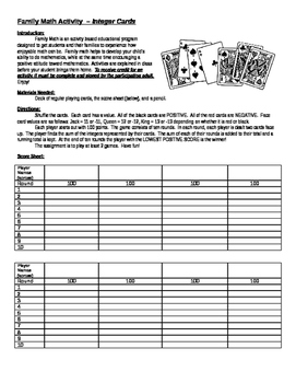 Family Math Integers Card Game