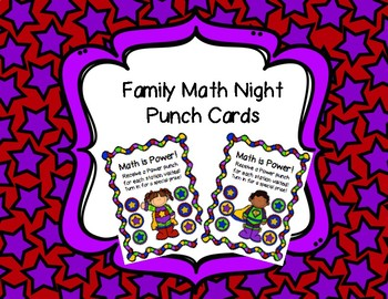 Family Math Night Punch Cards