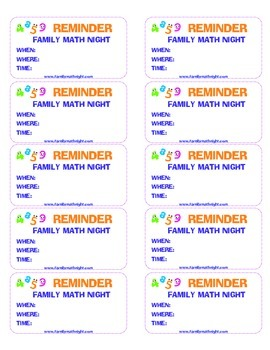 Family Math Night Reminder Stickers