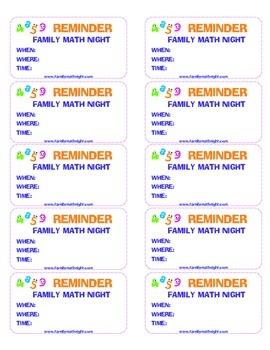 Family Math Night Reminder Stickers