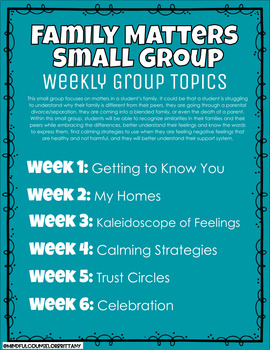 Family Matters Small Group Counseling (Divorce, Grief/Loss, Single Parent, etc)