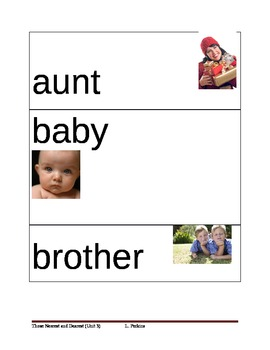 Family Member Picture Vocabulary Cards