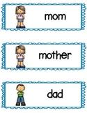 Family Member Writing Center Cards