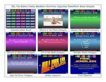 Family Members-Activities Jeopardy PowerPoint Game Slideshow