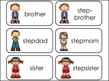 Family Members Picture Word Flash Cards.