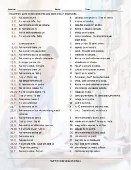 Family Members Sentence Match Spanish Worksheet