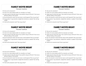 Family Movie Night Discussion Questions