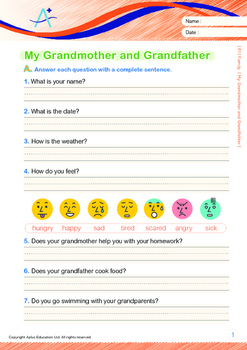 Family - My Grandmother and Grandfather - Grade 1 ('Triple-Track Writing Lines')