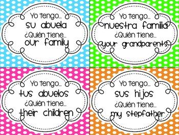 Family & Possessive Adjectives - Yo Tengo, ¿Quién Tiene? (I have.../Who has...?)