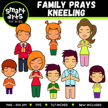 Family Prays Kneeling Clip Art