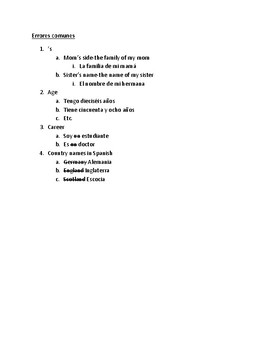 Family Project Student Worksheet Full of Helpful Grammar/Vocab Hints