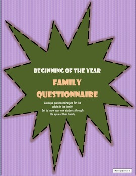 Family Questionnaire - Beginning of the Year