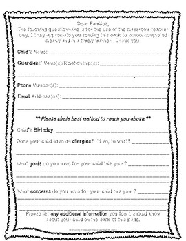 Family Questionnaire for the Classroom Teacher