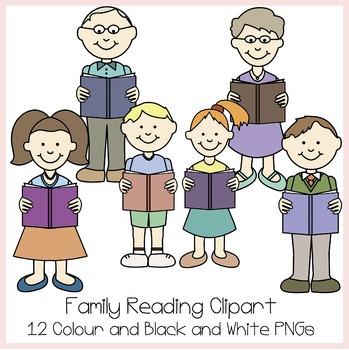 Family Reading Clipart