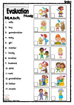 Family - Reading comprehension + Matching activity - Freebie