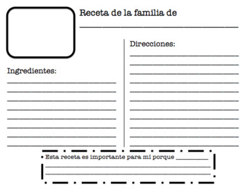 Family Recipe Book - Great resource for ESL!