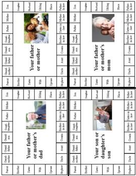 Family Relationships Vocabulary Practice Bundle