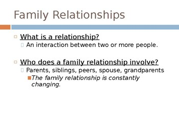 Family Relationships and Structures