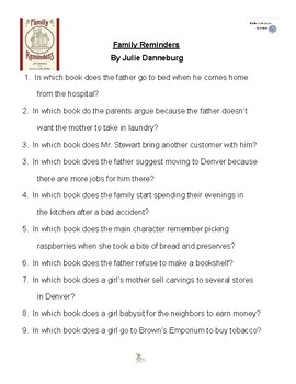 Family Reminders by Julie Danneburg, Battle of the Books Questions