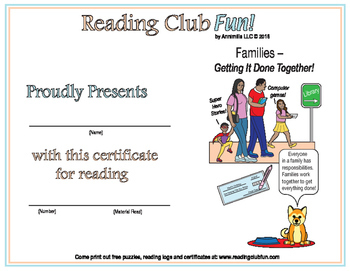 Family Responsibilities Reading Log and Certificate Set