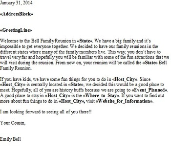 Social studies project family reunion mail merge word excel social studies project family reunion mail merge word excel computer unit m4hsunfo