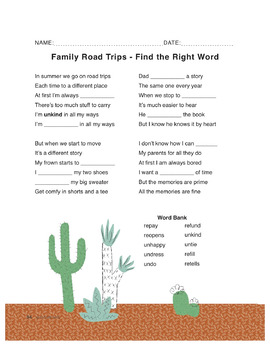 Family Road Trips (prefixes un and re) - use for Language Arts & ESL & SEL