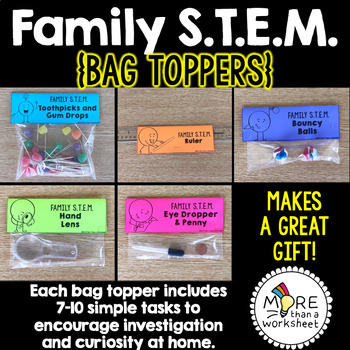 Family STEM (5 Bag Toppers with STEM Challenges for Home)