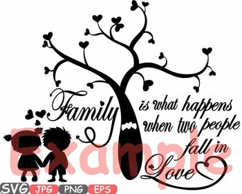 Family SVG Word Art family tree quote clip art fall in love heart sayings -508s