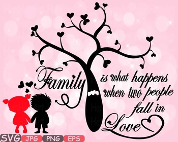 Family SVG Word Art family tree quote clip art fall in lov