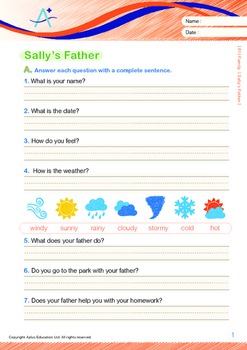 Family - Sally's Father - Grade 1 (with 'Triple-Track Writing Lines')