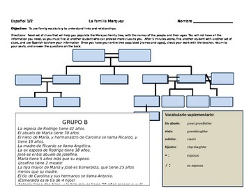 Family  Scavenger Hunt: using clues to make a family Tree/ Realidades 1 5a