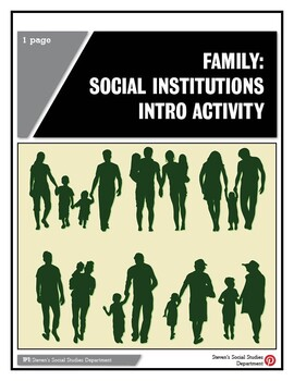 Family: Social Institutions Intro Activity