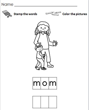 Family Stamp a Word and Write the Room Centers