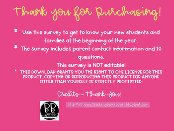 Family Survey - Get to know your new students & families!
