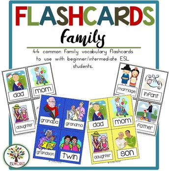 Family Terms  {36 Flashcards & Games} ESL Adults & Grades 4-6