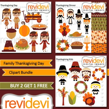 Family Thanksgiving Day Clip art combo (3 packs) commercial use