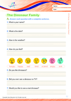 Family - The Dinosaur Family - Grade 1 (with 'Triple-Track Writing Lines')